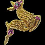 SALE Vintage Signed BSK Jeweled Prancing Deer Brooch/Pin