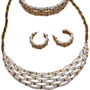 SALE Signed Crown Trifari Vintage Lattice Work Parure Necklace Bracelet Pierced Earrings