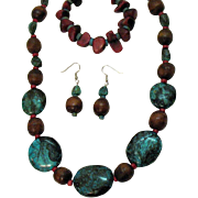 Bold Vintage Died Turquoise Howlite Wooden Coral Necklace Bracelet Pierced Earrings