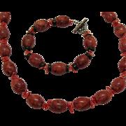 SALE Vintage Red Jasper Branch Coral Necklace Bracelet Set