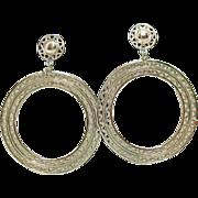 Vintage Signed Monet Silver Hoop Clip Earrings