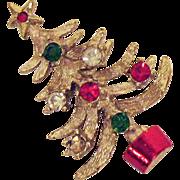 Vintage Signed Mylu Christmas Tree Rhinestone Brooch