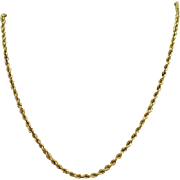 SOLD Vintage Italian Made 14K Gold Rope Chain Necklace