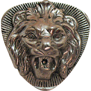 Vintage Signed Freirich Lion Head Brooch