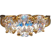 Vintage Oval Princess Cut CZs Costume Jewelry Ring~Super Sparkly!