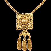 Stunning Vintage Victorian Revival Ornate Tassel Pendant Necklace