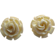 Gorgeous Vintage 14K White Carved Rose White Coral Pierced Earrings