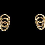 SOLD Vintage 14K Gold Interlocking Hoop Pierced Earrings
