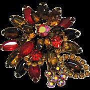 Gorgeous Vintage Big Bold Rhinestone Brooch/Pin