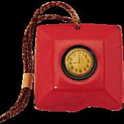Unusual Vintage 1920s Art Deco Red Celluloid Plastic Coin Purse Faux Clock