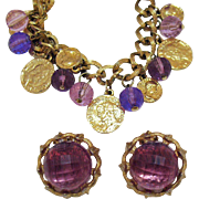 Really Fun Vintage Signed Germany Glass Faux Coin Charm Bracelet Clip Earrings Set