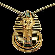 Rare Signed Eisenberg Egyptian Revival King Tut Pharaoh Pendant Necklace