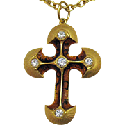 Vintage Signed Made in USA Enameled Rhinestone Cross Pendant Necklace