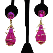 Lush Vintage Fuchsia Glass Caged Pierced Earrings
