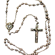 Very Nice Vintage Sterling Silver 1940s Petite Rosary