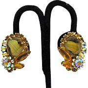 Gorgeous Vintage Juliana Givre Rhinestone Clip Earrings~Book