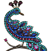 Rare AVON of Belleville Hostess Gift Magnificent Peacock Brooch~Marcel Boucher