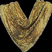 Wonderful Drippy Drappy Gold Metallic Mesh Bib Necklace Signed Whiting & Davis