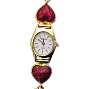 Unusual Vintage Gruen Enameled Heart Bracelet Watch~Unworn!