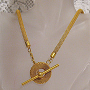 SALE 50% Off~Unusual Chic Vintage Signed OHJ Mesh Opera Necklace 40 Inches