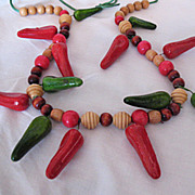 SALE 50% Off~Vintage Paper Mache Chill Pepper Wooden Necklace