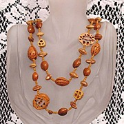 SALE 50% Off~Very Unusual Naturalistic Vintage Necklace Walnut Shells~Peach  Apricot Pit Beade