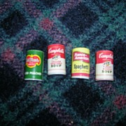 Vintage Miniature Cans of Food Items- Lot of 4
