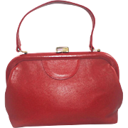 Vintage Red Leather Satchel Purse