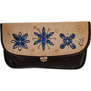 SALE Vintage Blue Leather With Bead Flowers Clutch Purse by Collins of Texas