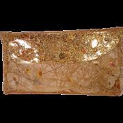 SALE Vintage Gold Threads Floral Clear Vinyl Clutch Purse