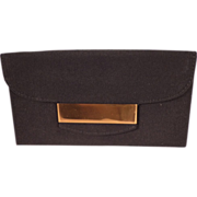 Vintage Black Faille Clutch Vanity Purse With Accessories for Saks Fifth Ave