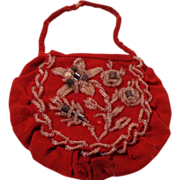 SALE Vintage North American Indian Felt Purse With Embroidery