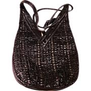 SALE Vintage Black Leather Hobo Cross Body  Purse by Sharif