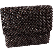 SOLD Vintage Whiting and Davis Black Beadlite Tri-Fold Mini-Theatre Wallet With Box
