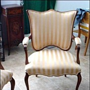 SALE PENDING Exquisite Elegant Pair of French Armchairs with Extra Wide Shield Backs