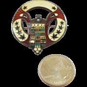 SALE Guilloche Enamel on Sterling Silver Heraldic Brooch/Pin