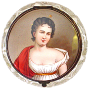 Antique Handpainted Miniature Portrait Madame Recamier Topped Hinged Lidded Cut Crystal Dresse