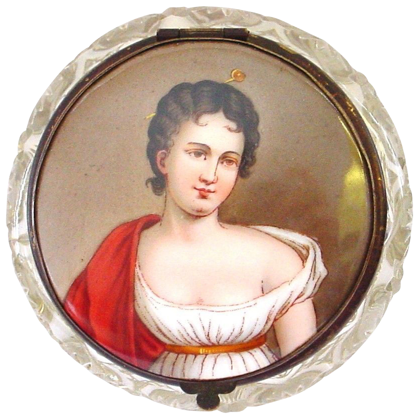 Antique Handpainted Miniature Portrait Madame Recamier Topped Hinged Lidded Cut Crystal Dresser Jar