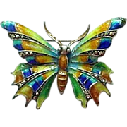 Spectacular Caviness Design German Enamel Sterling Marcasite Butterfly Pin
