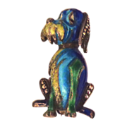 SALE Enamel on Sterling Silver Made in Germany Fantasy Dog
