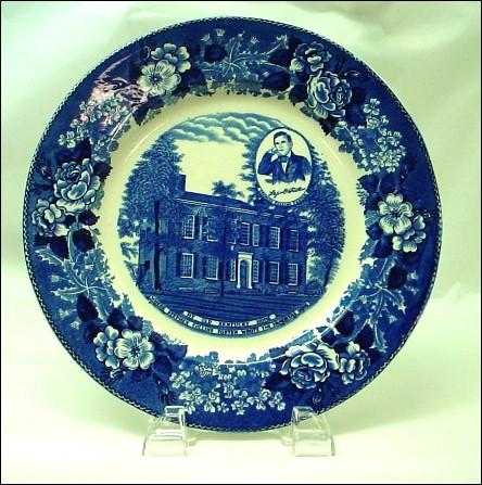 Antique Staffordshire Blue and White Historical Plate Old Kentucky Home Stephen Foster