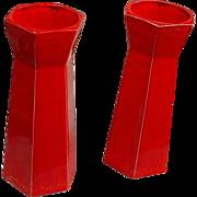 Pair of USA Mandarin Red Vases w/Greek Key Motif