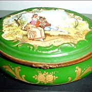 "Large 6 1/2"" Raised Gold and Romantic Scene Hinged Porcelain Box"