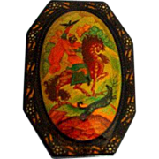 Russian Lacquer Miniature Painting on Papier Mache Box Kholui