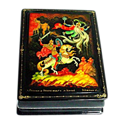 Gorgeous Russian Kholui Lacquer Miniature Painted Box Papier Mache Ruslan & Ludmilla Legend