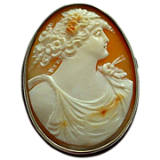 SALE Beautifully Carved Woman (Flora) Shell Cameo in Silver Setting Brooch or Pendant