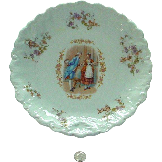 Large Antique Limoges Charger/Plaque/Plate with Romping Angels and Courting Couple