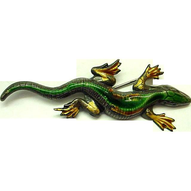 Enamel on Sterling Large Lizard/Gila Monster Brooch