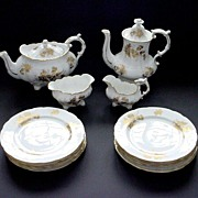 Hammersley Fine Bone China White and Gold Thistle Patterned Teaset with Teapot, Coffeepot, etc