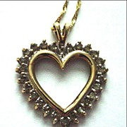SALE 10K Yellow Gold and Diamond Heart Pendant Charm